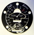 "TRIUMPH Petrol/Gas Cap. Aluminium Tank Decal ""Ton Up Boy's"" (5 Screw Tank Rings)"